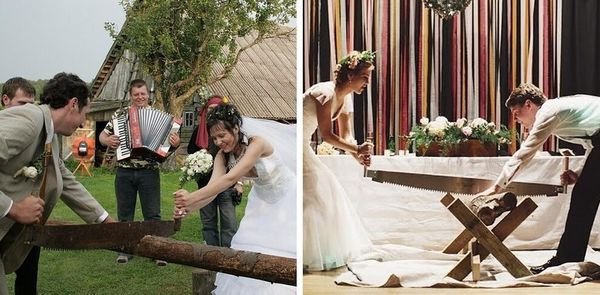 超奇特婚禮習俗 德國-鋸木頭、摔破